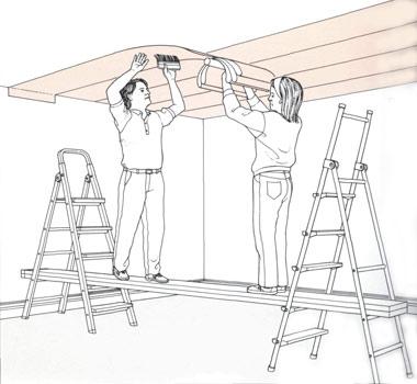 Как клеить обои на стены с неровным потолком 4